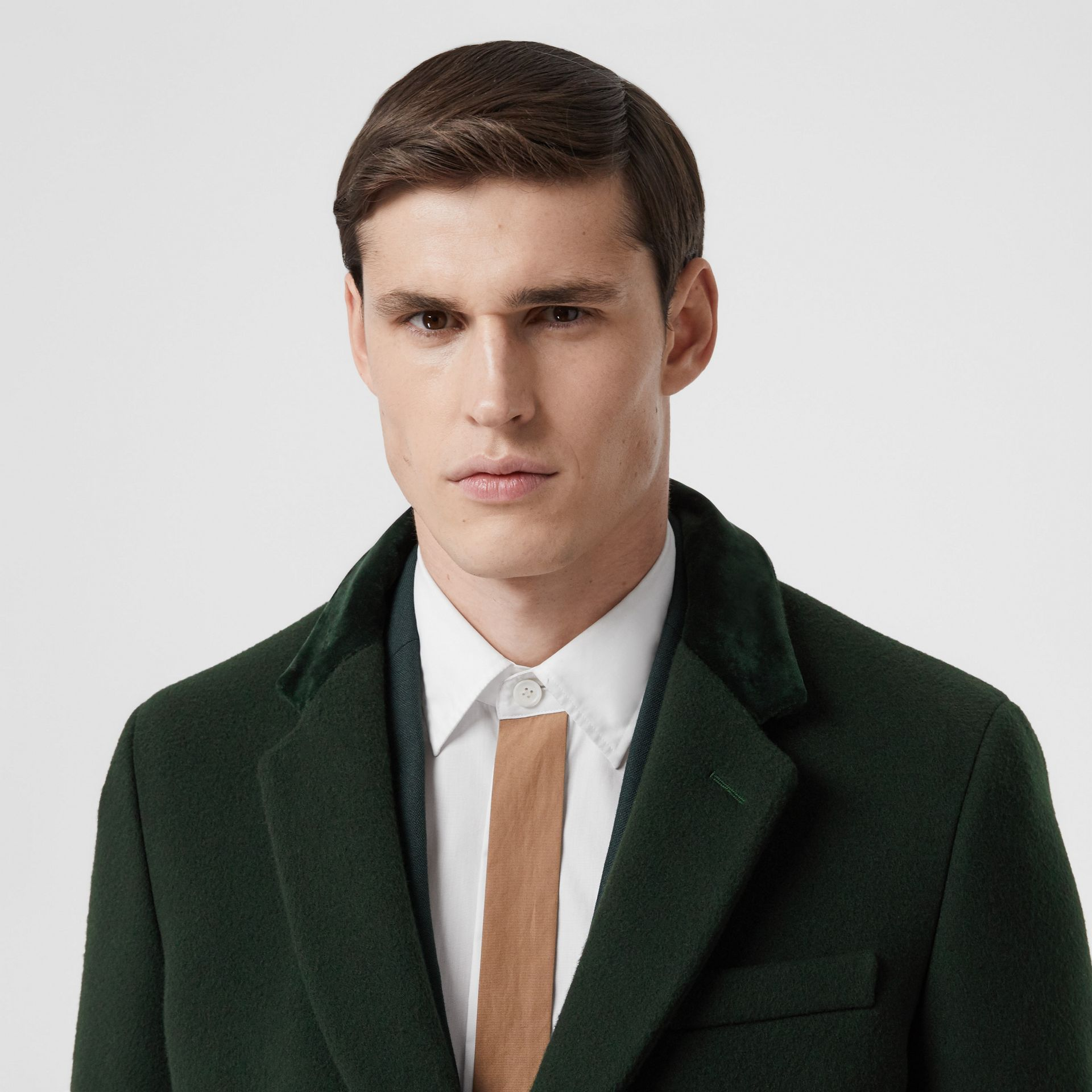 Velvet Trim Wool Cashmere Tailored Coat in Dark Pine Green - Men | Burberry - gallery image 1