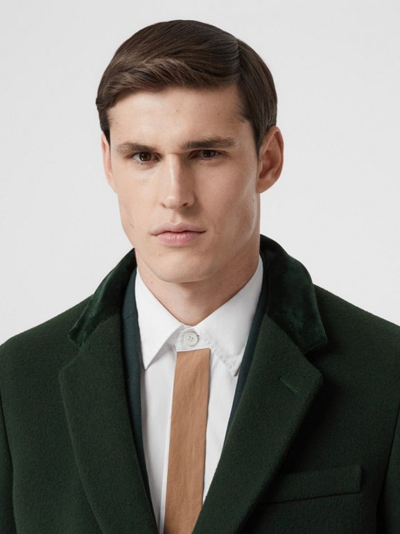 Velvet Trim Wool Cashmere Tailored Coat in Dark Pine Green - Men | Burberry - cell image 1