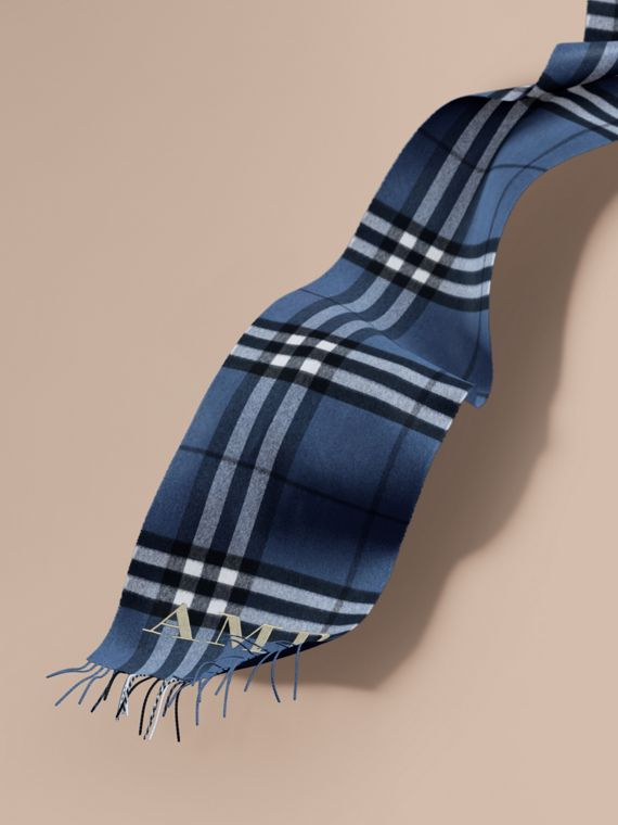The Classic Cashmere Scarf in Check in Cadet Blue