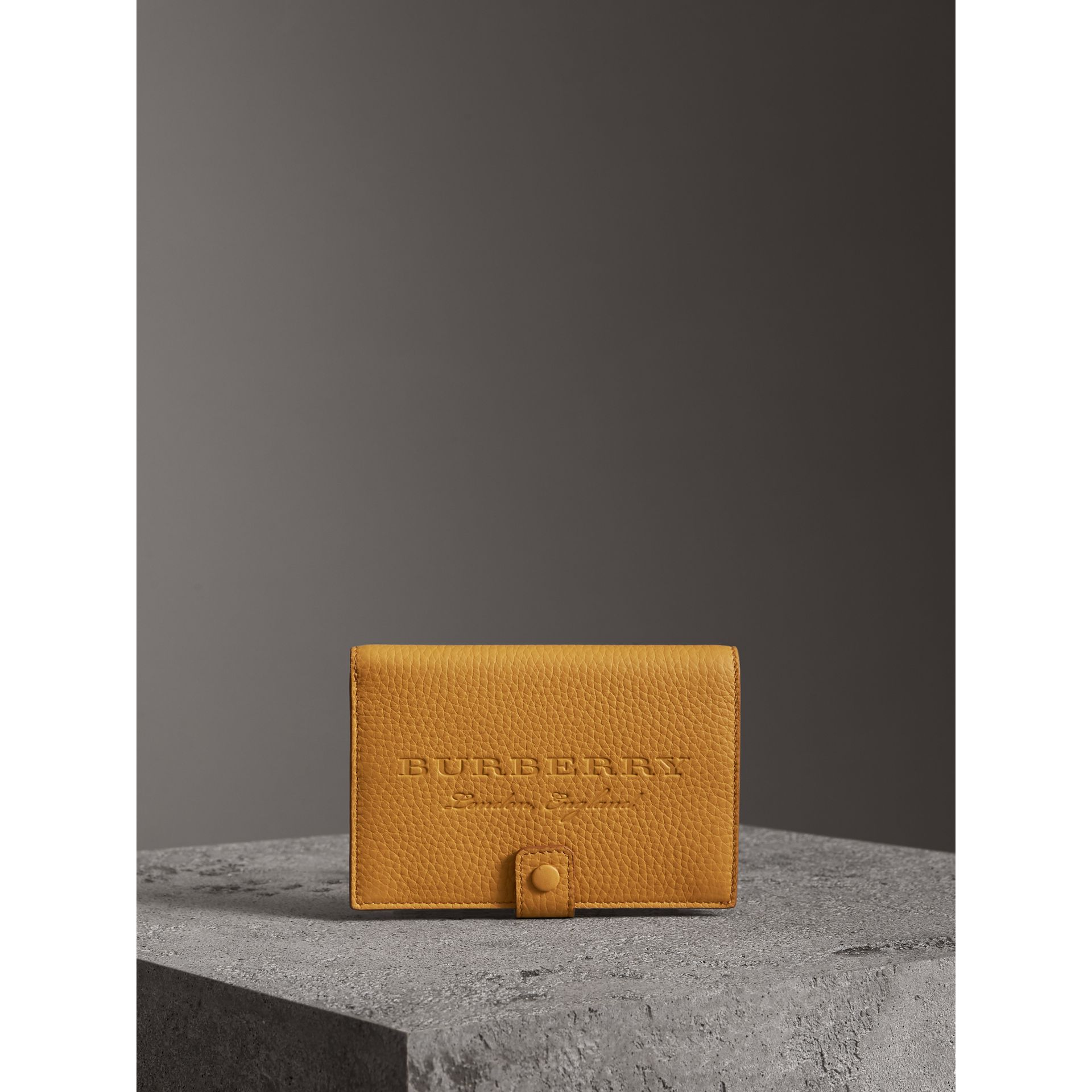 Embossed Grainy Leather Folding Wallet in Ochre Yellow - Women | Burberry - gallery image 4