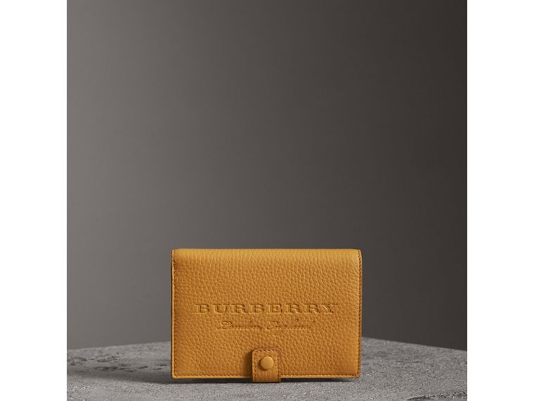 Embossed Grainy Leather Folding Wallet in Ochre Yellow | Burberry - cell image 4