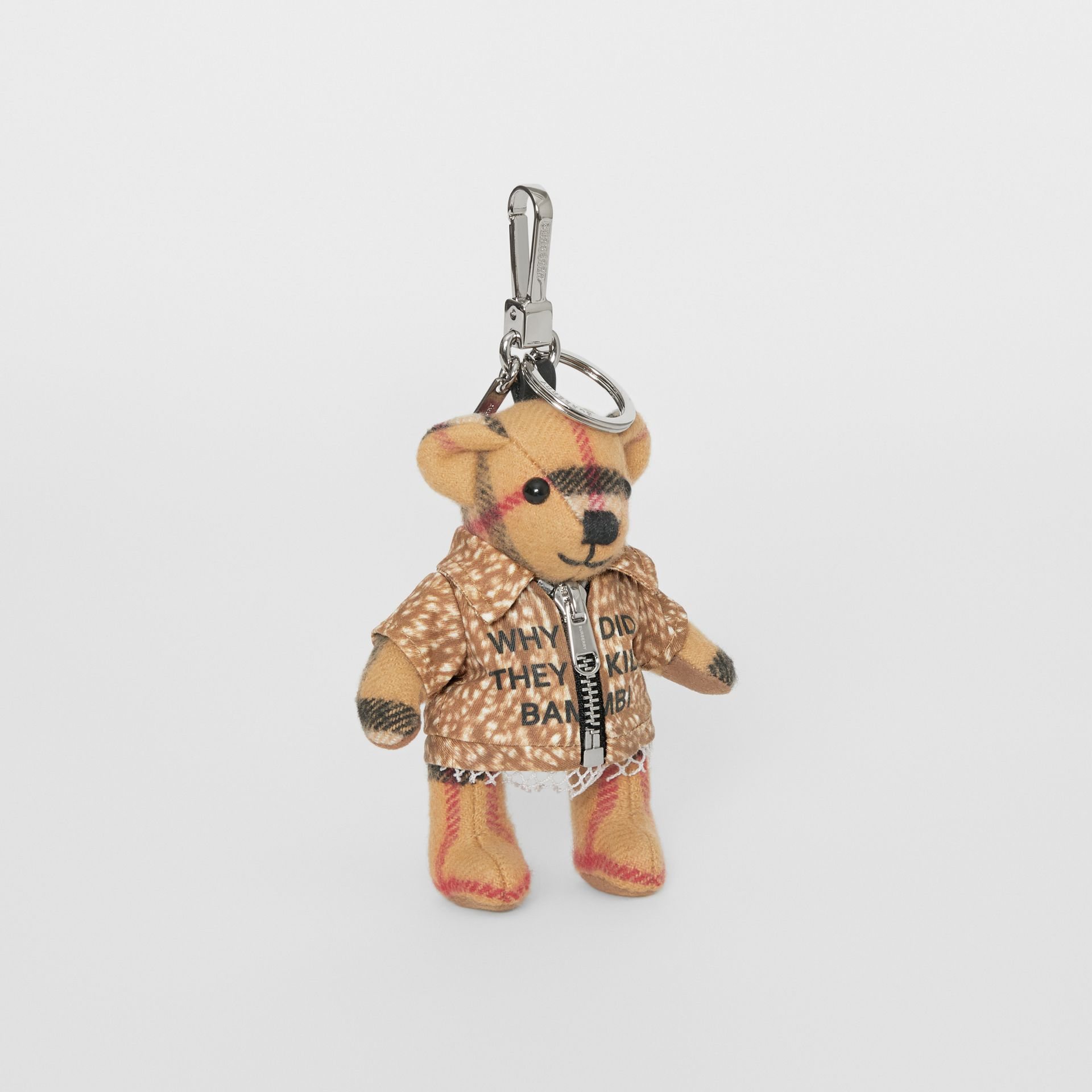 Thomas Bear Charm in Deer Print Coat in Antique Yellow | Burberry United Kingdom - gallery image 0