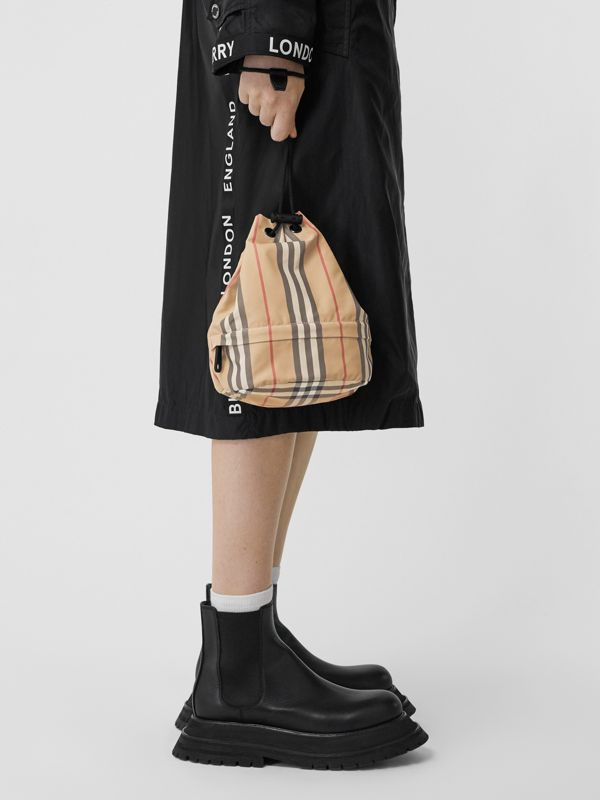 Logo Print Icon Stripe Nylon Drawcord Pouch in Archive Beige - Women | Burberry - cell image 2