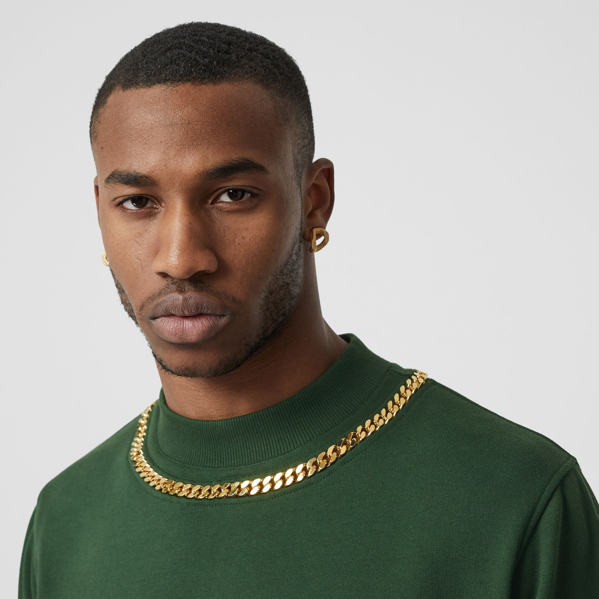 Chain Detail Cotton Sweatshirt in Dark Pine Green - Men | Burberry United Kingdom - gallery image 1