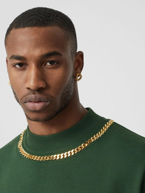 Chain Detail Cotton Sweatshirt in Dark Pine Green - Men | Burberry - cell image 1