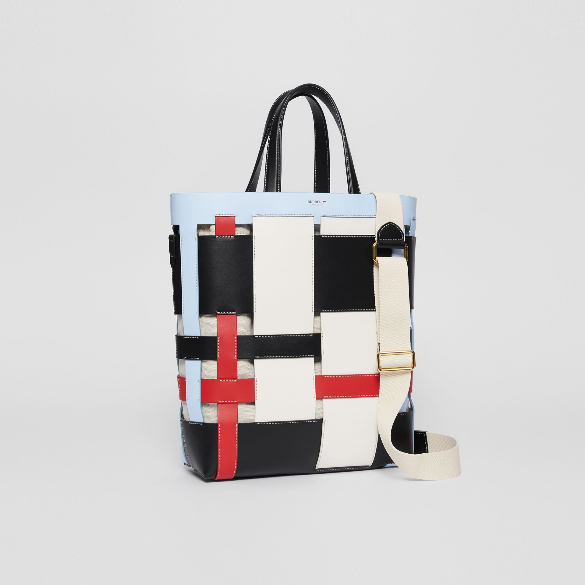 Medium Colour Block Leather Foster Tote in Blue - Women | Burberry - gallery image 4