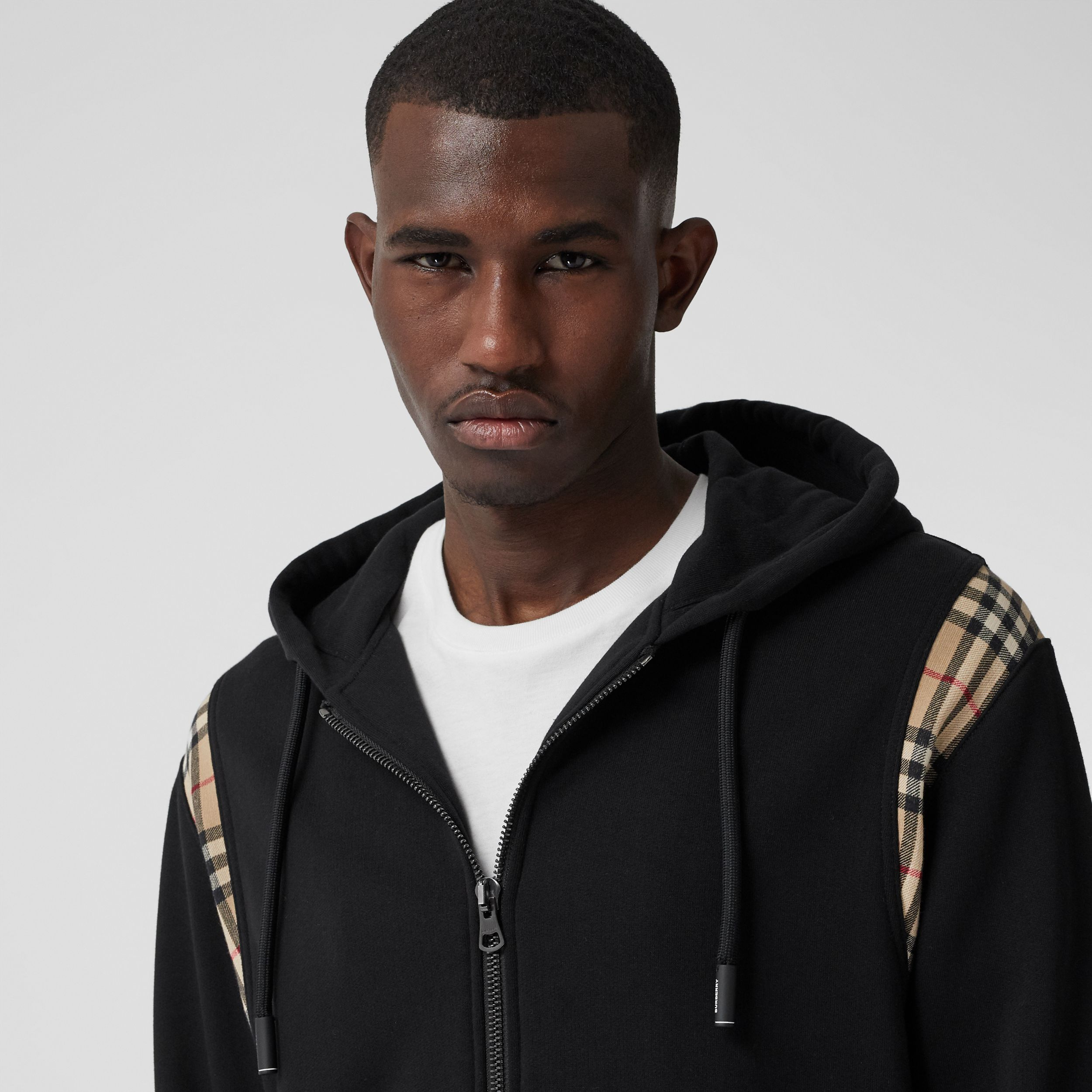 Vintage Check Panel Cotton Hooded Top in Black - Men | Burberry Singapore - 2