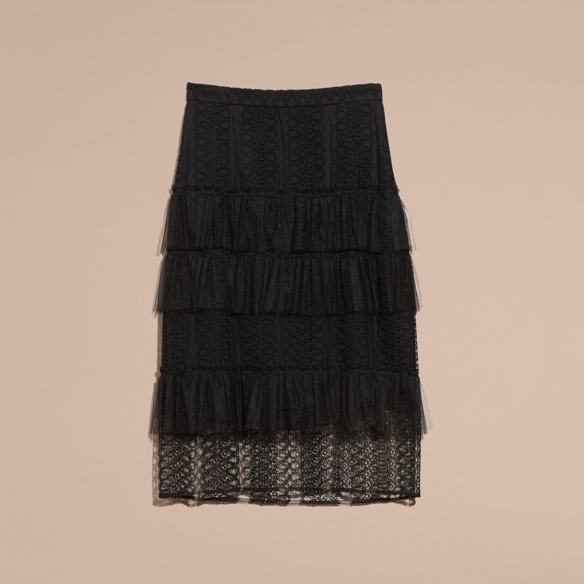 Black Tiered Braided Tulle Column Skirt with Ruffles - gallery image 4