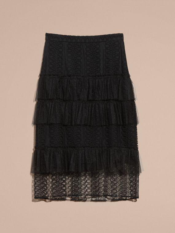 Black Tiered Braided Tulle Column Skirt with Ruffles - cell image 3