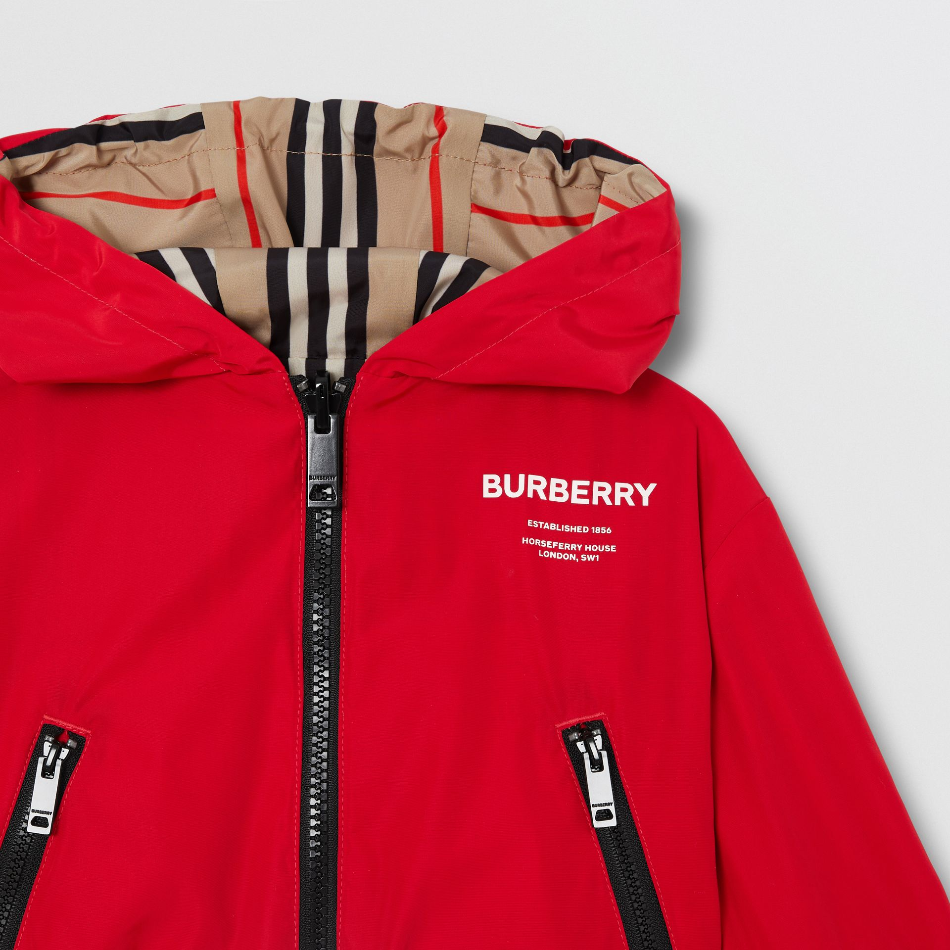 Reversible Icon Stripe Lightweight Hooded Jacket in Bright Red - Children | Burberry - gallery image 5