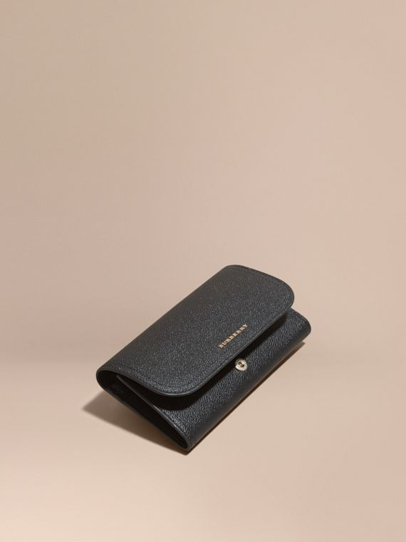 Leather Continental Wallet with Removable Coin Case Black