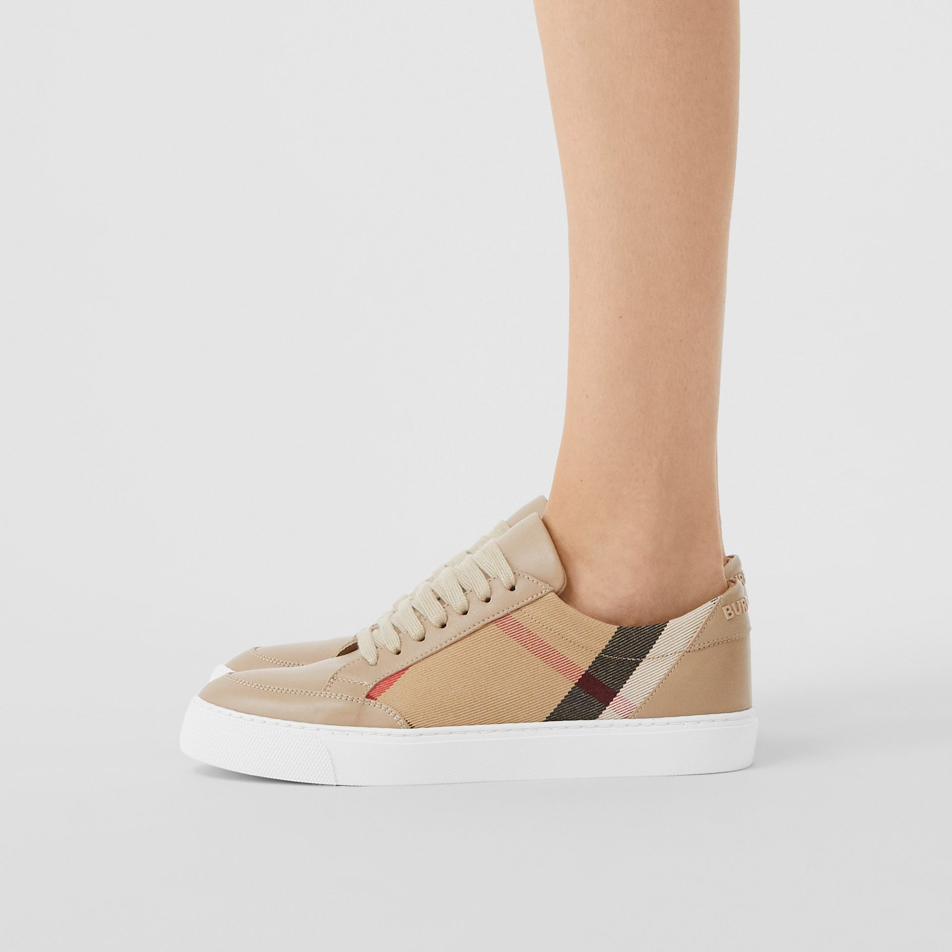 House Check and Leather Sneakers in Tan - Women | Burberry - gallery image 2