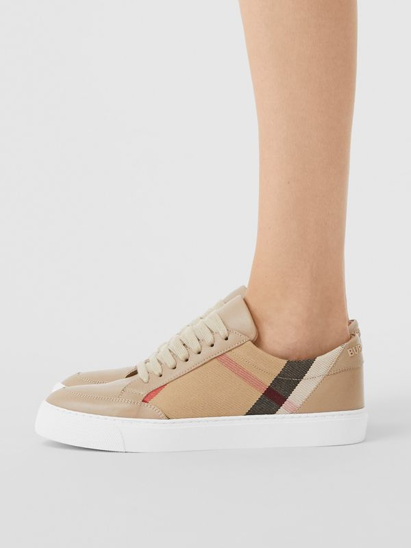 House Check and Leather Sneakers in Tan - Women | Burberry - cell image 2