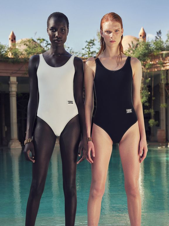 Logo Detail Swimsuit in Black | Burberry - cell image 1