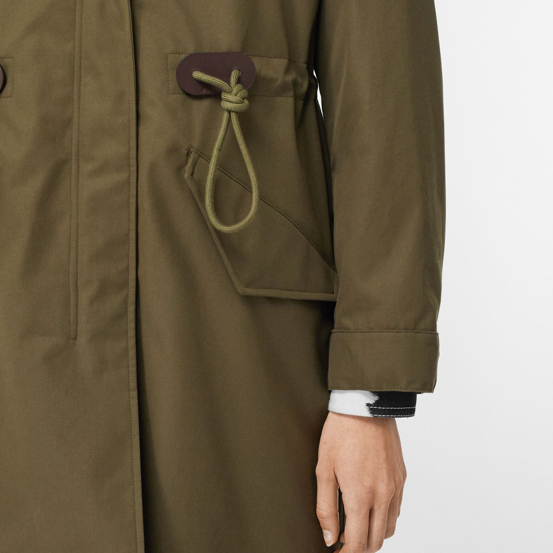 Detachable Hood Cotton Gabardine Parka in Dark Military Khaki - Women | Burberry - gallery image 4