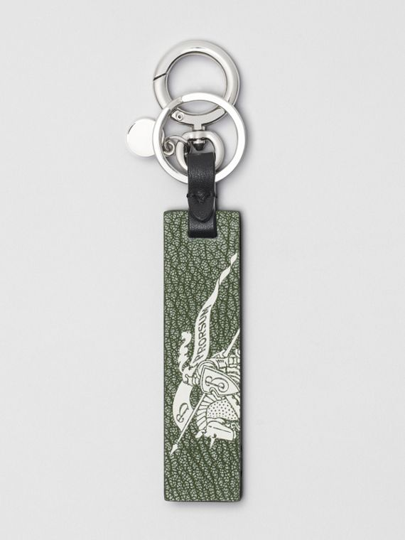 Logo Print Leather Key Ring in Storm Blue/antique Green