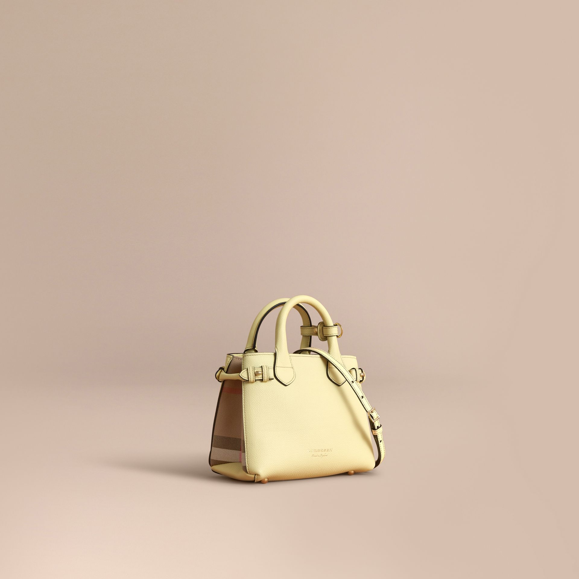 The Baby Banner in Leather and House Check in Camomile Yellow - Women | Burberry Canada - gallery image 1