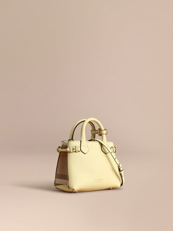 The Baby Banner in Leather and House Check in Camomile Yellow - Women | Burberry Singapore