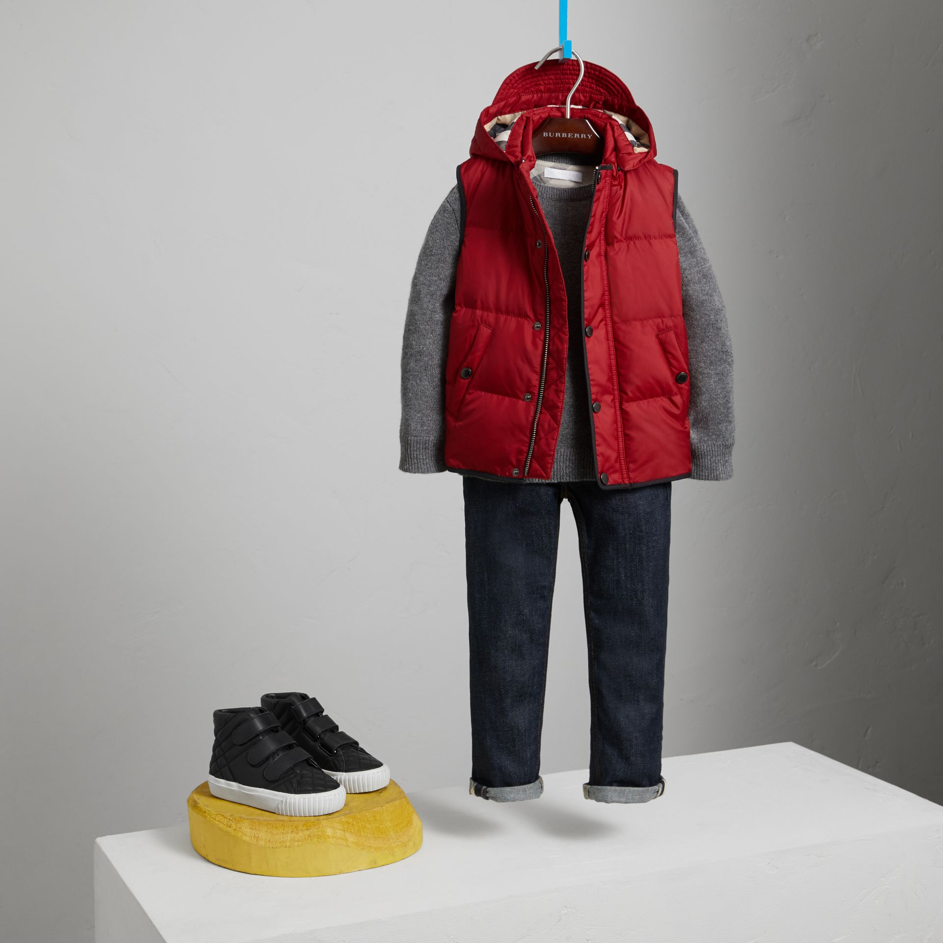 Down-filled Hooded Gilet in Parade Red - Boy | Burberry - gallery image 2