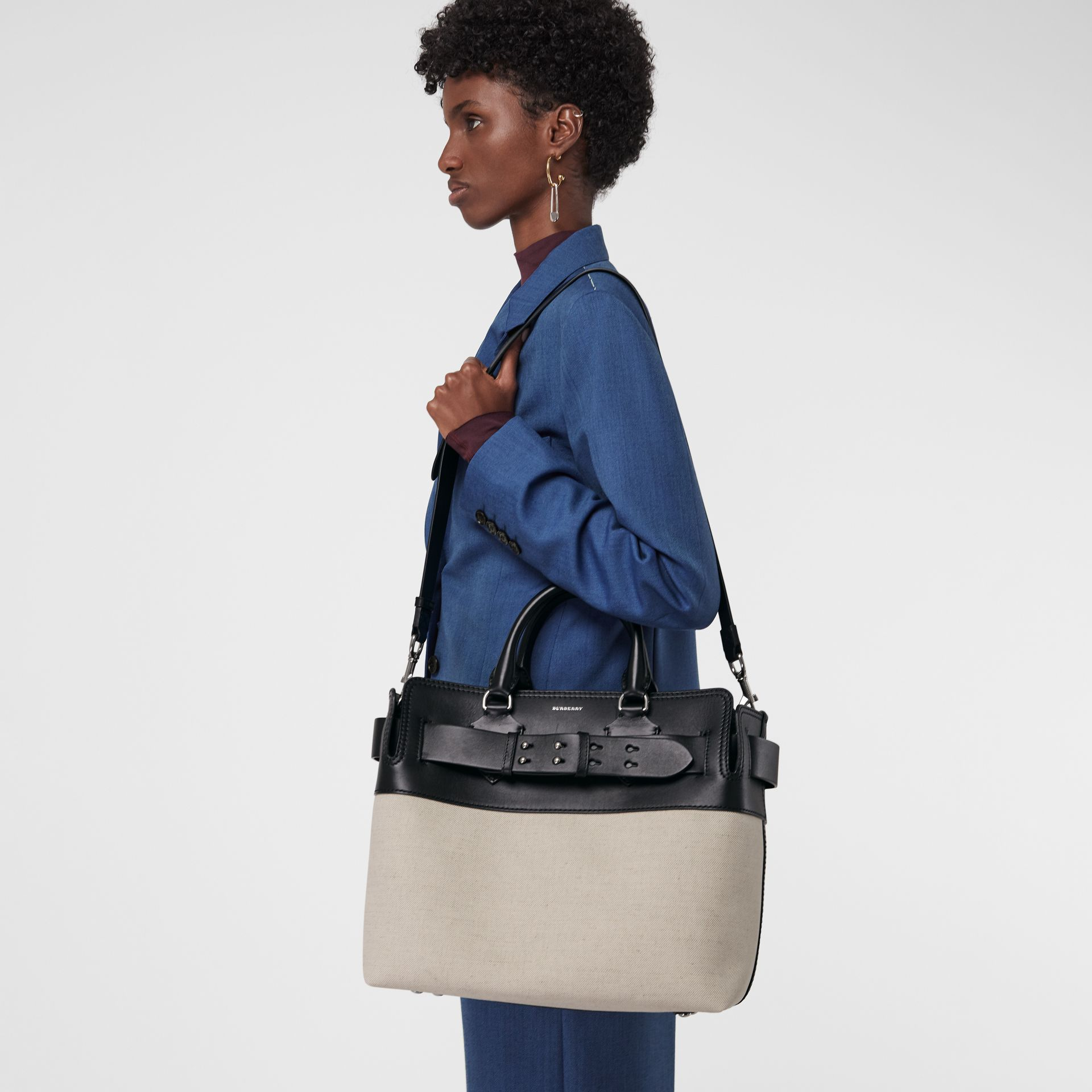 The Medium Canvas and Leather Belt Bag in Black/stone - Women | Burberry United Kingdom - gallery image 4