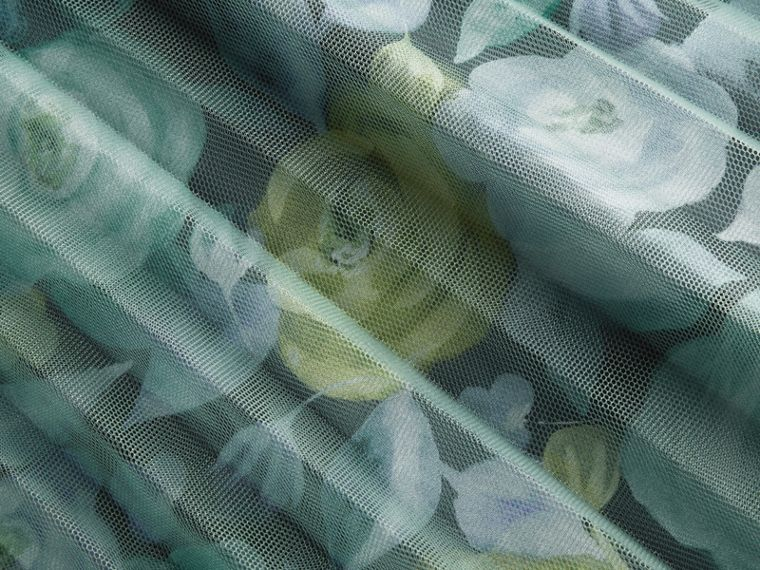 Watercolour Rose Print and Pleated Tulle Skirt in Aqua Green - cell image 1