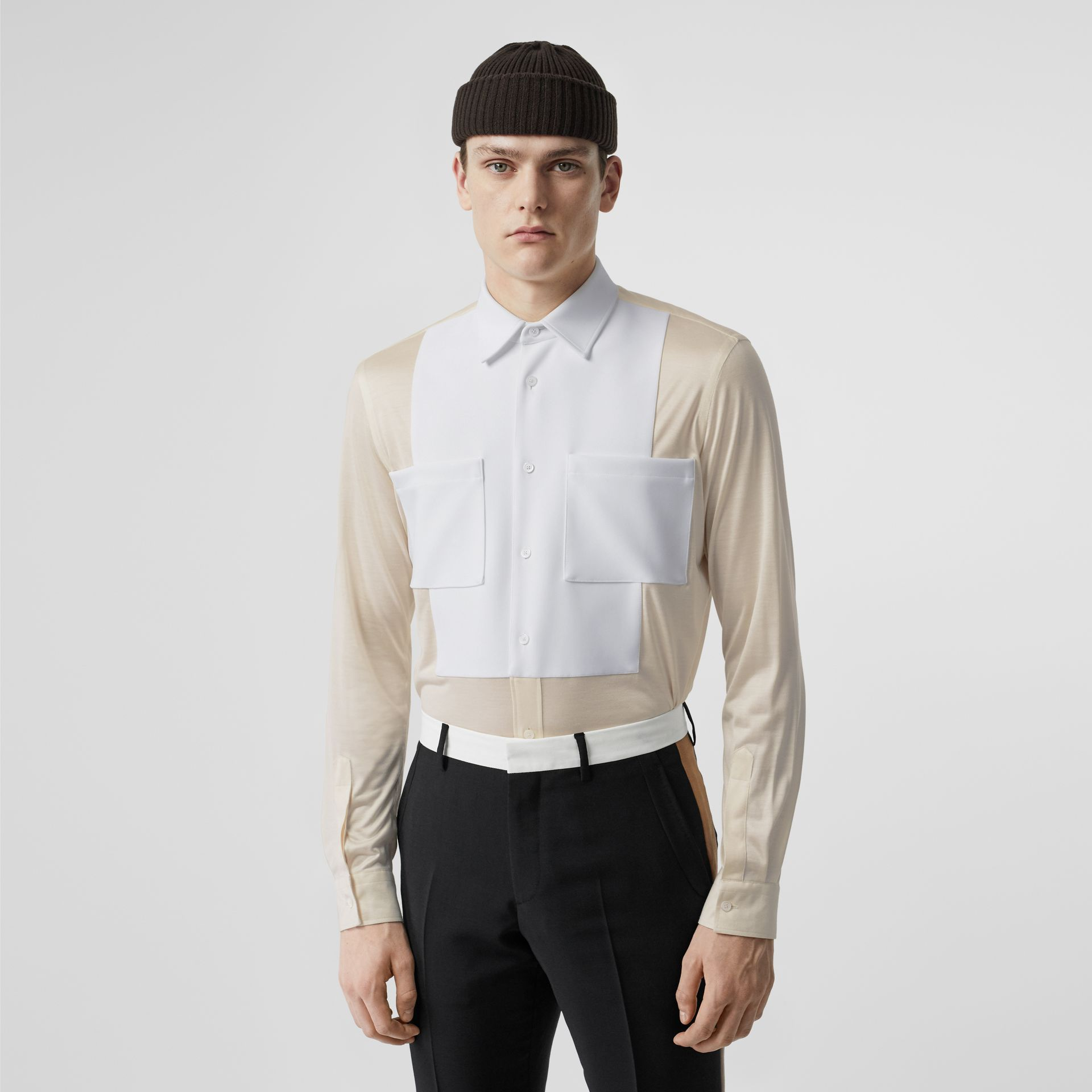 Classic Fit Neoprene Bib Silk Jersey Shirt in Natural White - Men | Burberry - gallery image 0