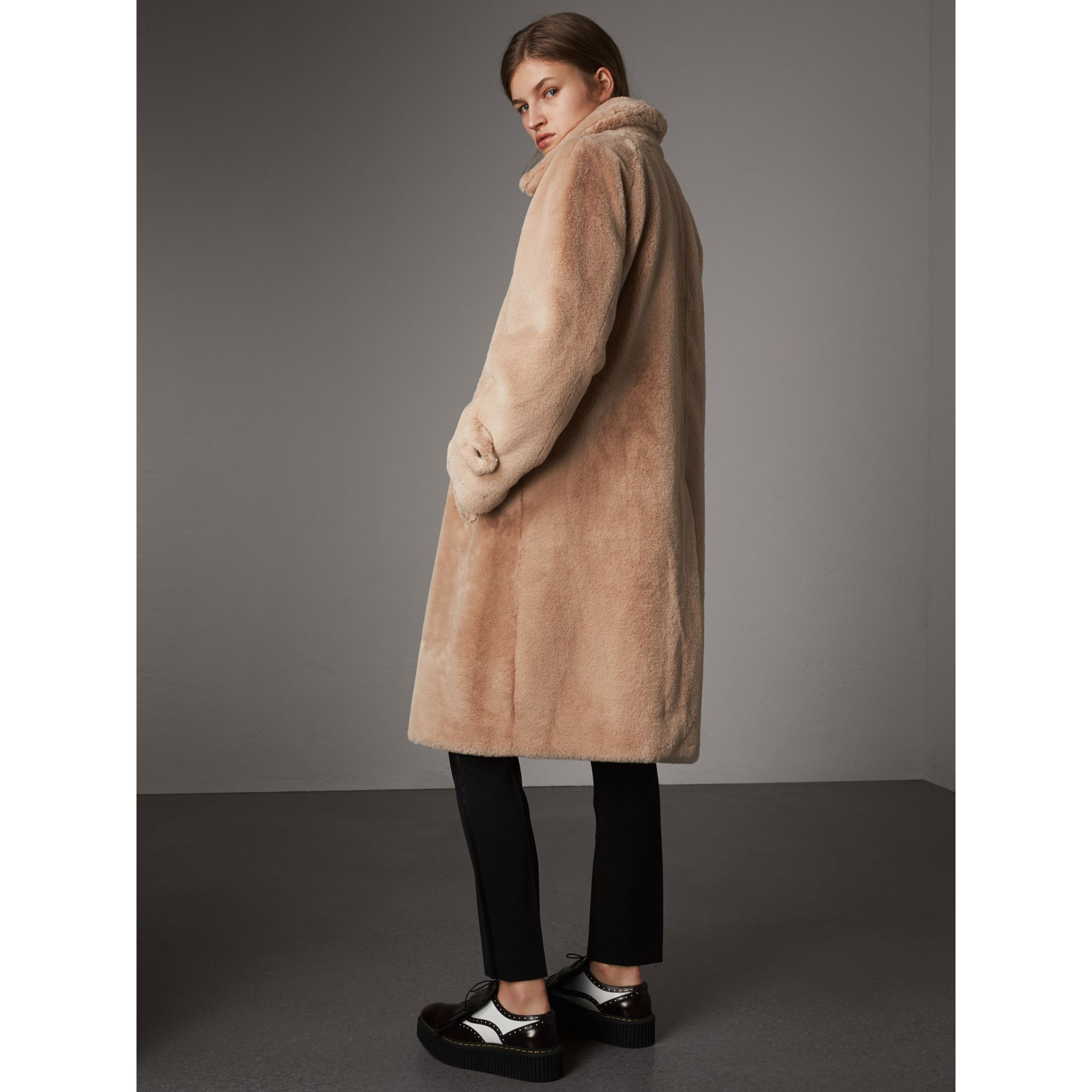 Faux Fur Single-breasted Car Coat in Nude - Women | Burberry - gallery image 3