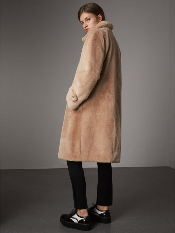 Faux Fur Single-breasted Car Coat in Nude - Women | Burberry - cell image 2