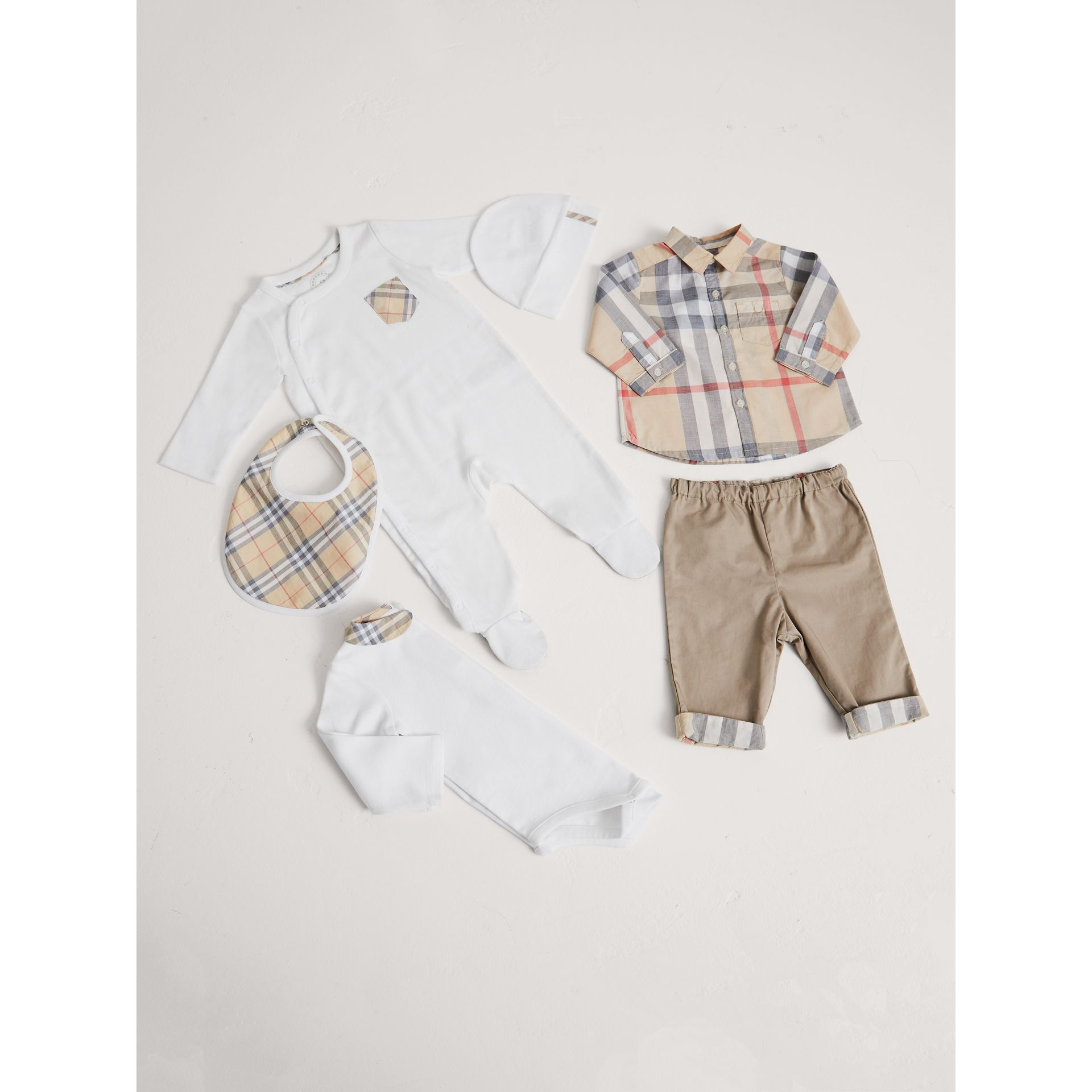 Cotton Six-piece Baby Gift Set in White - Children | Burberry - gallery image 1