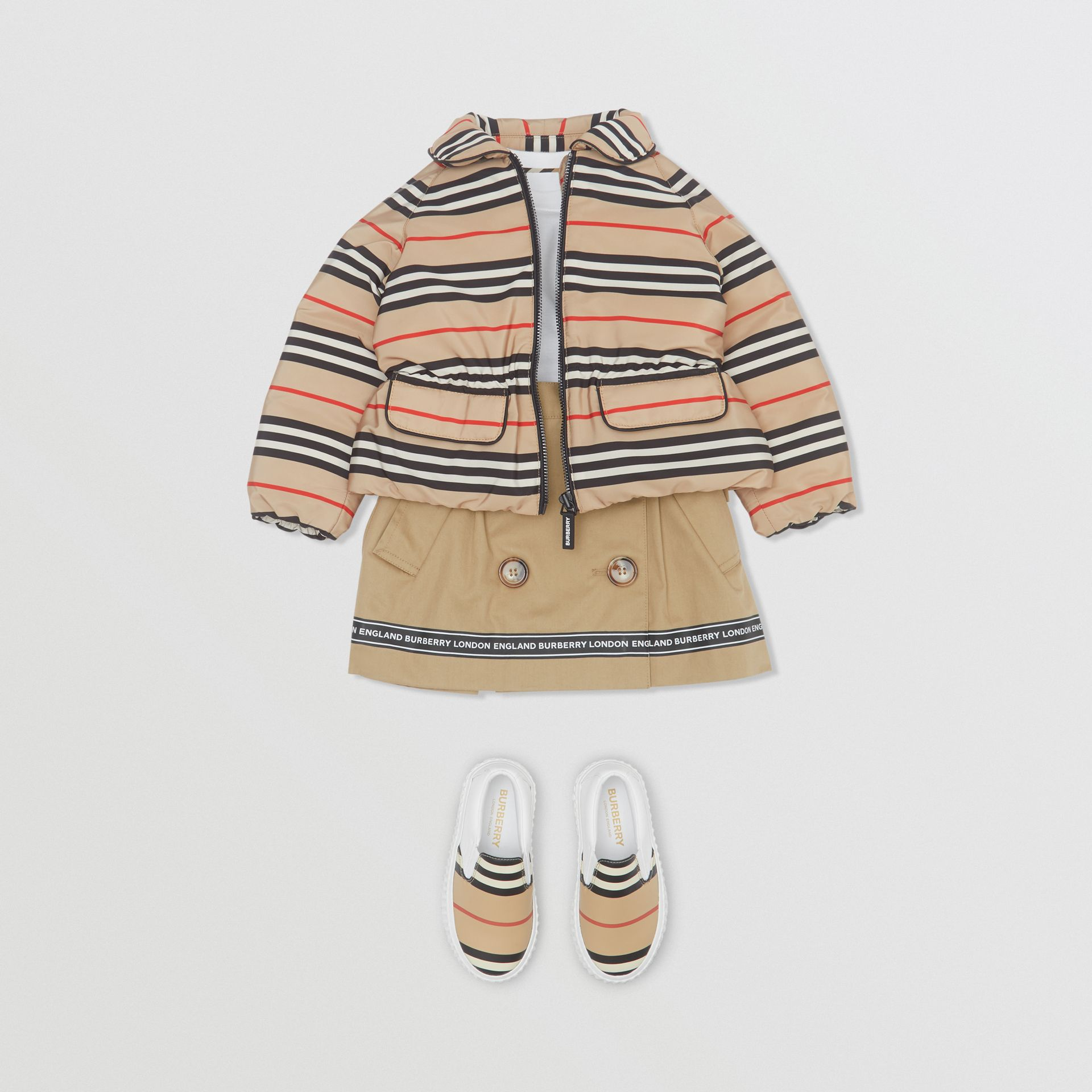 Icon Stripe Down-filled Jacket in Archive Beige - Children | Burberry - gallery image 2