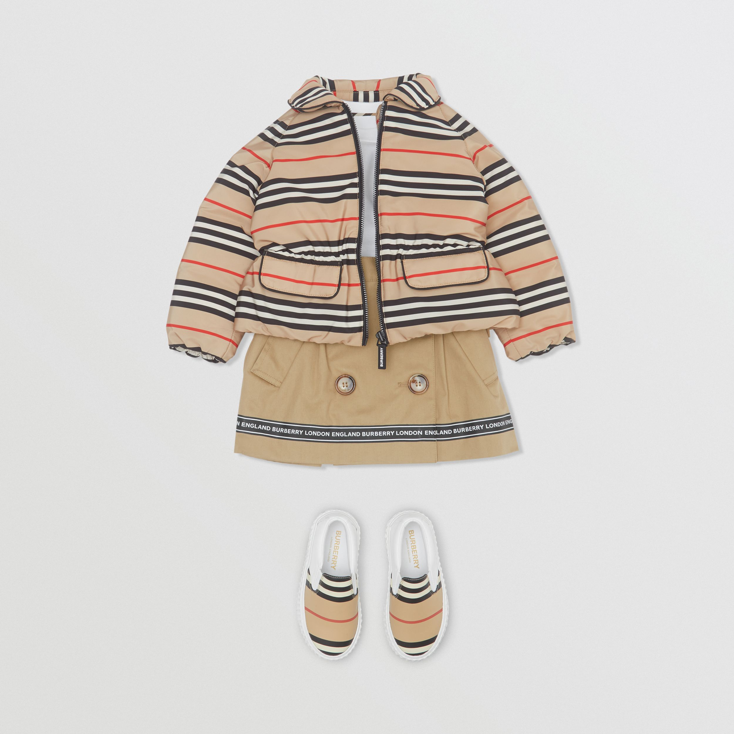 Icon Stripe Down-filled Jacket in Archive Beige - Children | Burberry - 3