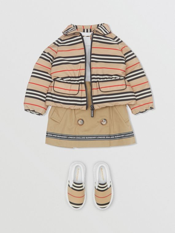 Icon Stripe Down-filled Jacket in Archive Beige