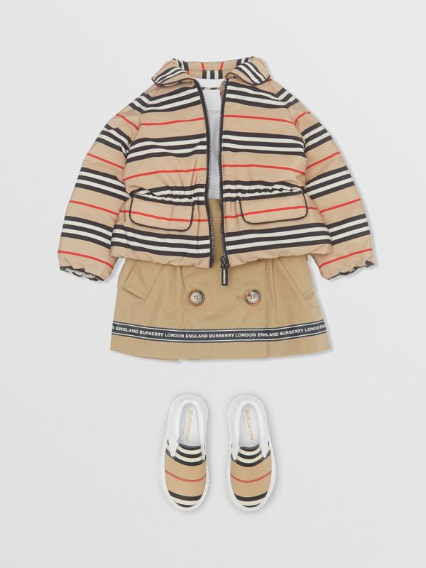 Icon Stripe Down-filled Jacket in Archive Beige - Children | Burberry - cell image 2