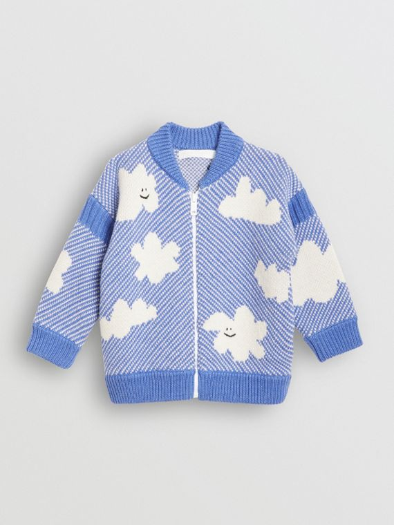 Cloud Jacquard Merino Wool Cardigan in Cornflower Blue