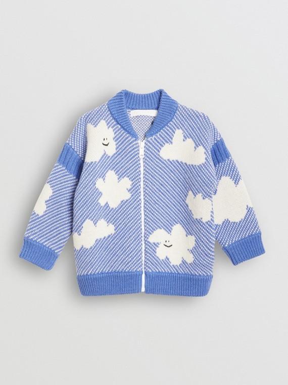 Cardigã de lã merino com estampa de nuvem em jacquard (Azul Centáurea)