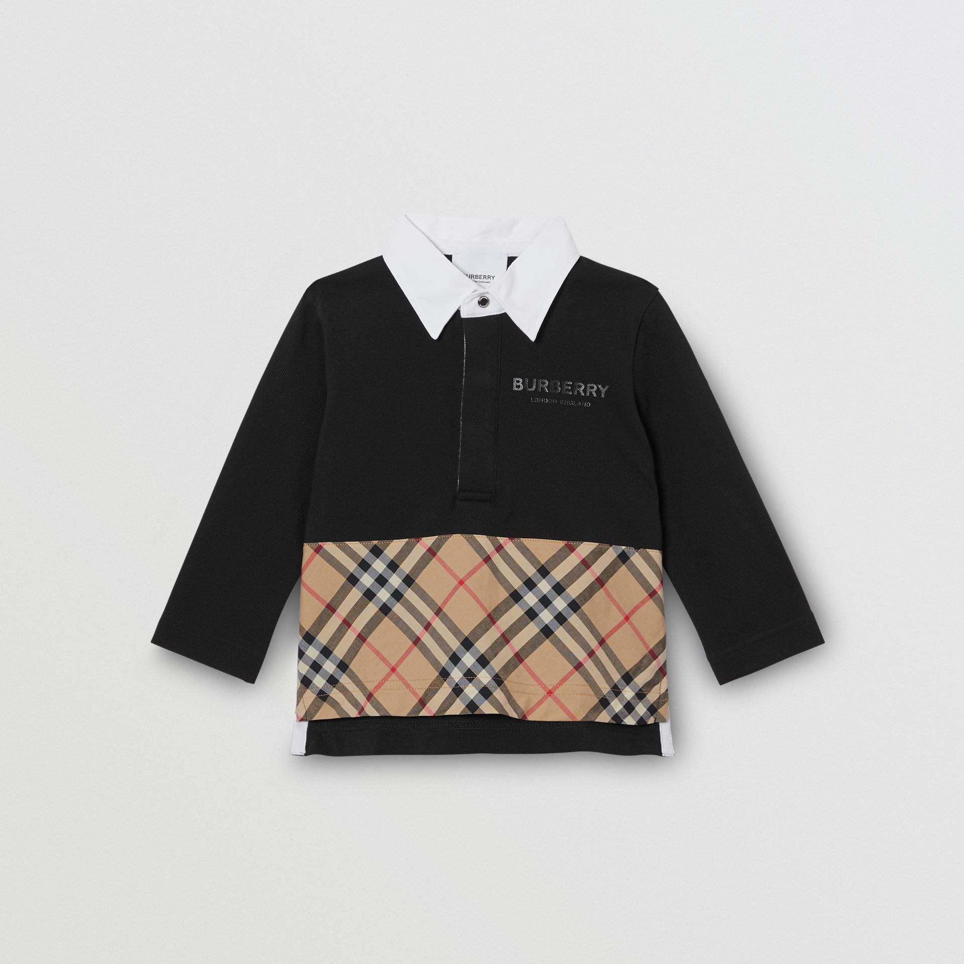Long-sleeve Vintage Check Panel Cotton Polo Shirt in Black - Children | Burberry - gallery image 0