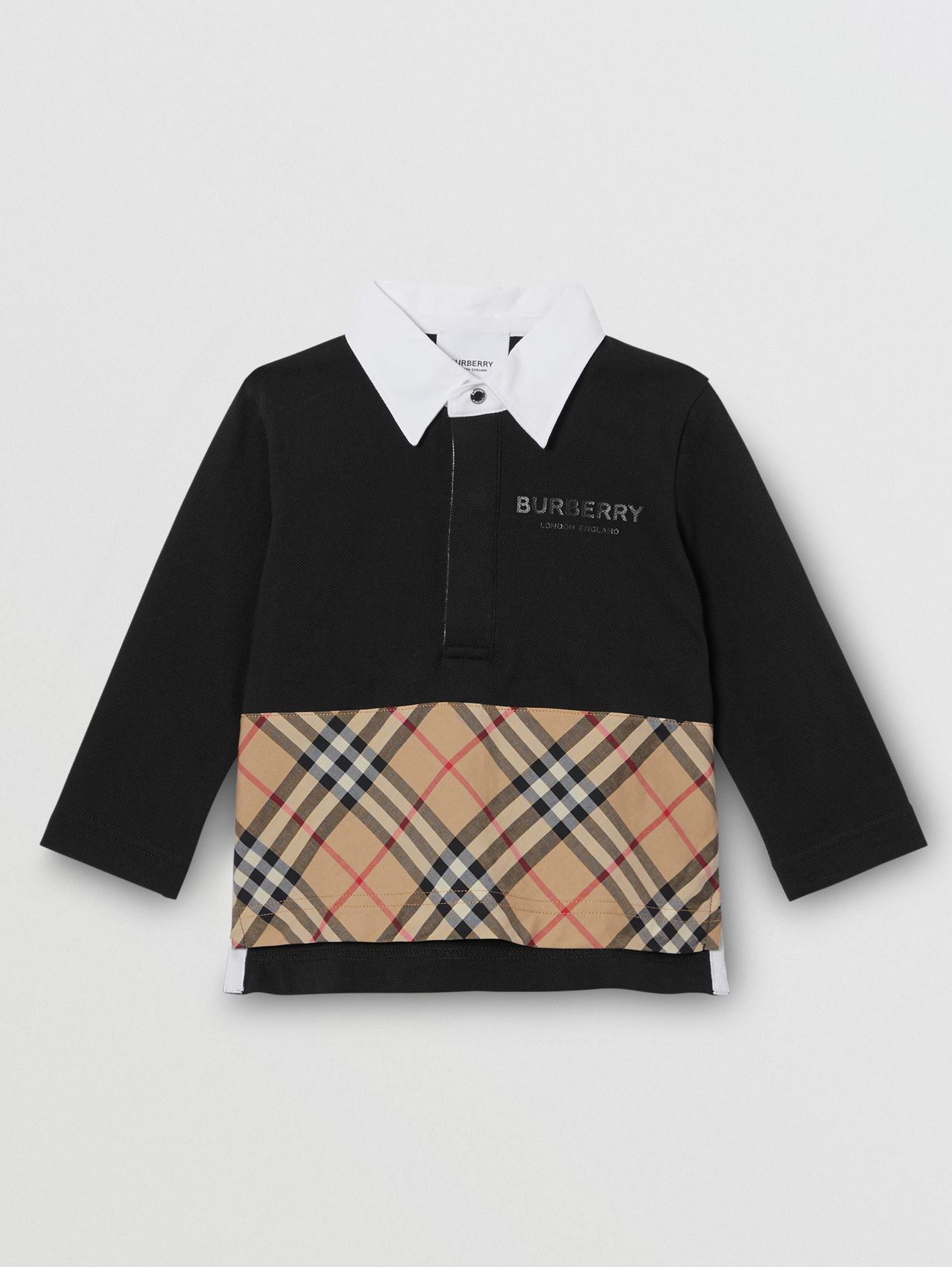 Long-sleeve Vintage Check Panel Cotton Polo Shirt (Black)