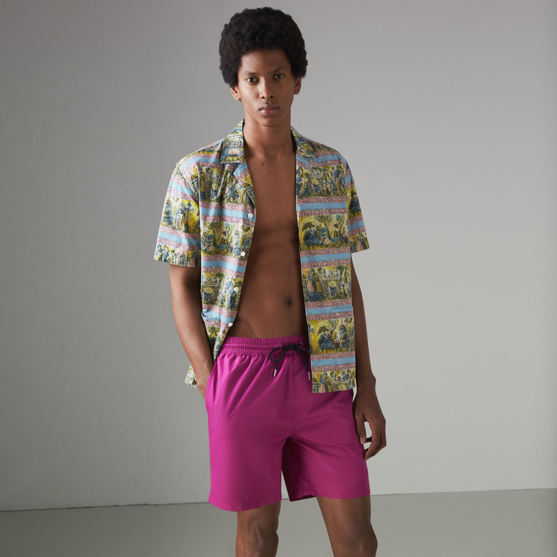 Drawcord Swim Shorts in Bright Fuchsia - Men | Burberry United States - gallery image 0
