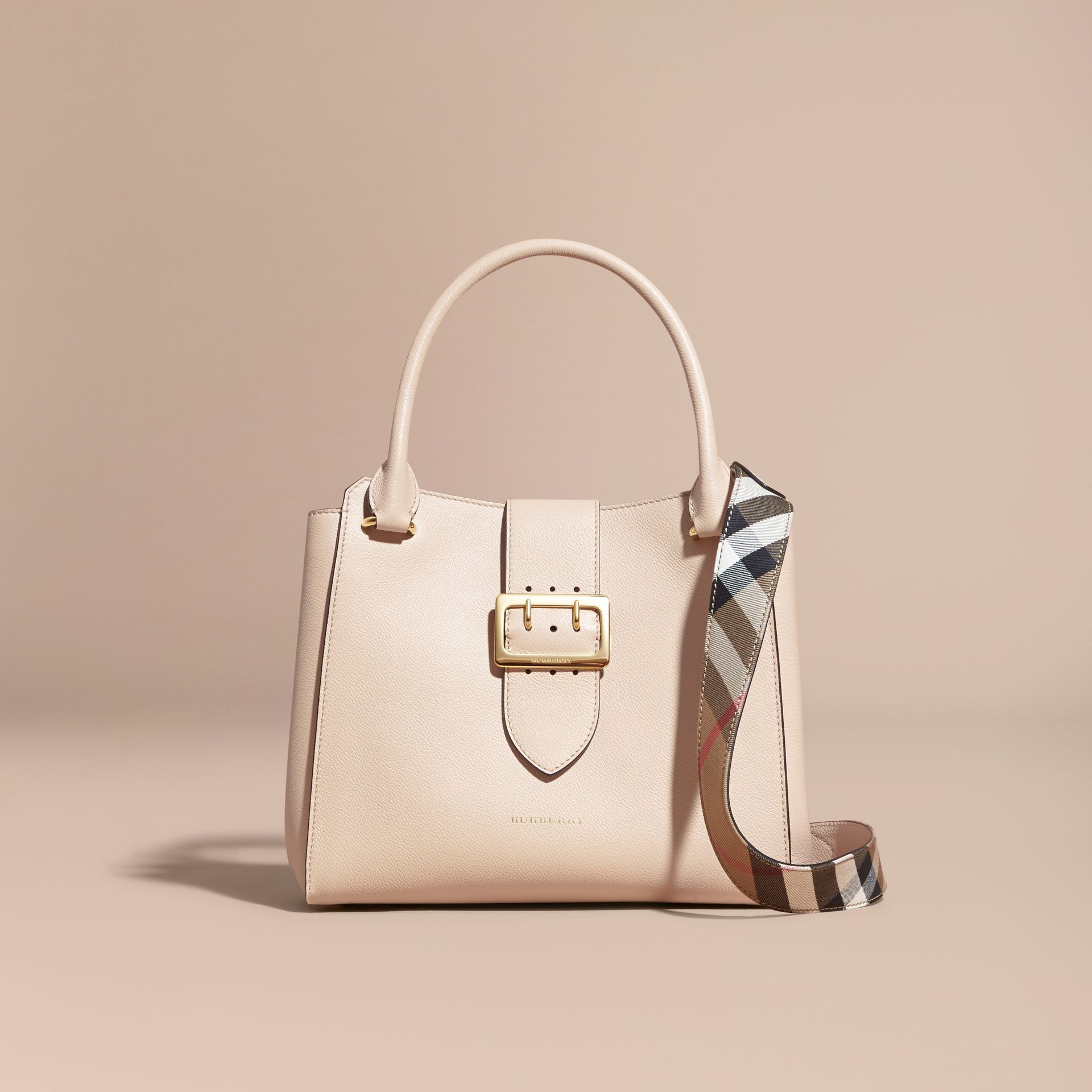Limestone The Medium Buckle Tote in Grainy Leather Limestone - gallery image 9