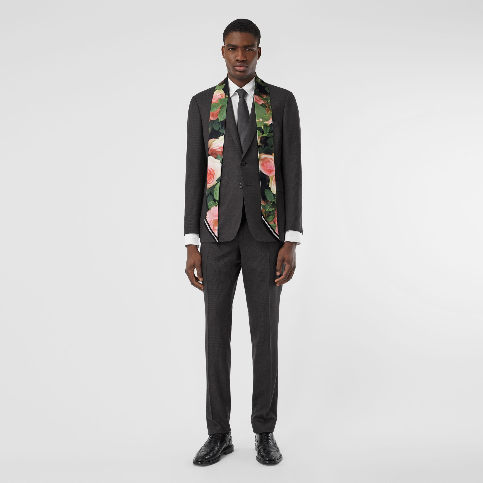 Floral Print Silk Skinny Scarf in Rose Pink | Burberry United States - gallery image 7