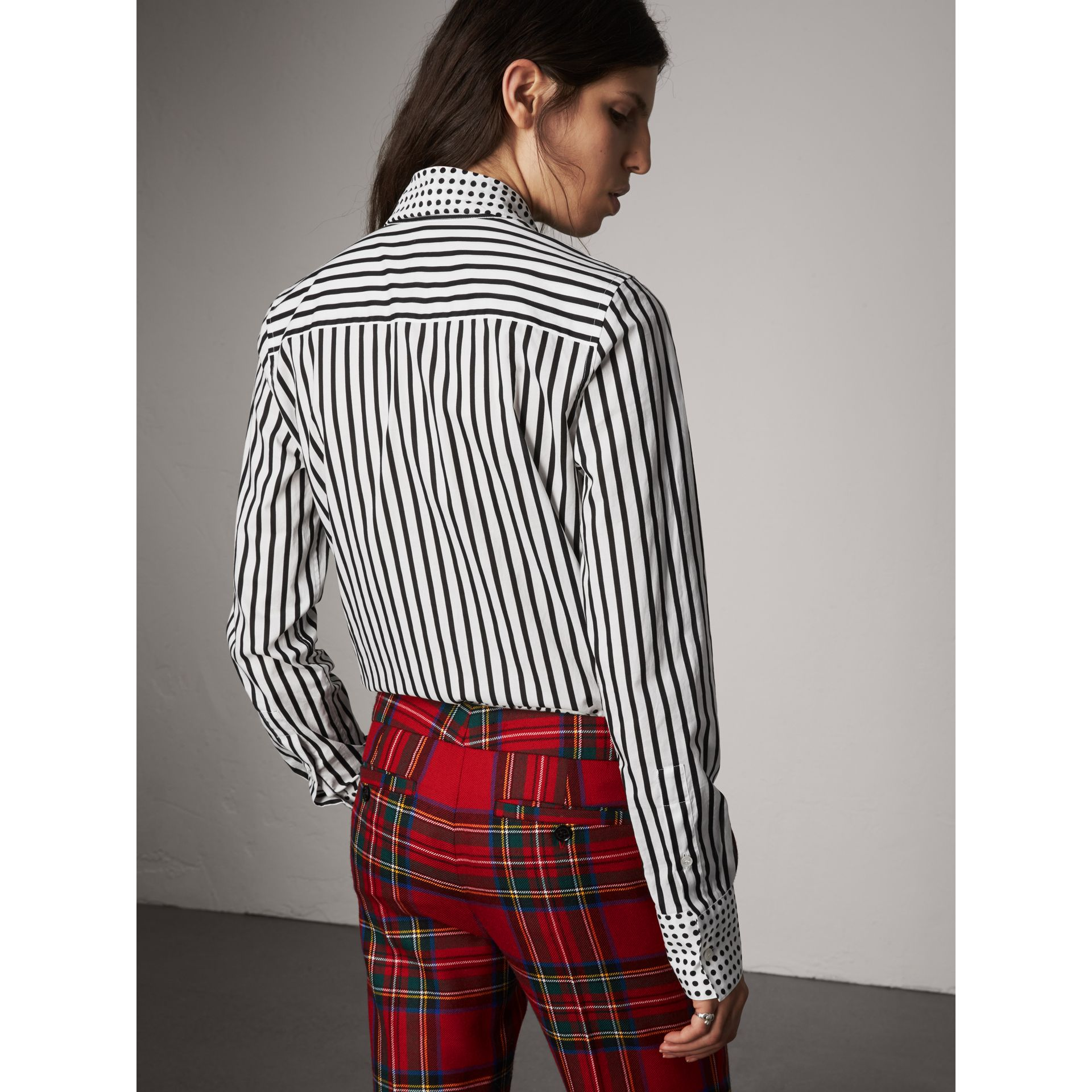 Spot and Stripe Print Cotton Tie-neck Shirt in Black - Women | Burberry Australia - gallery image 3