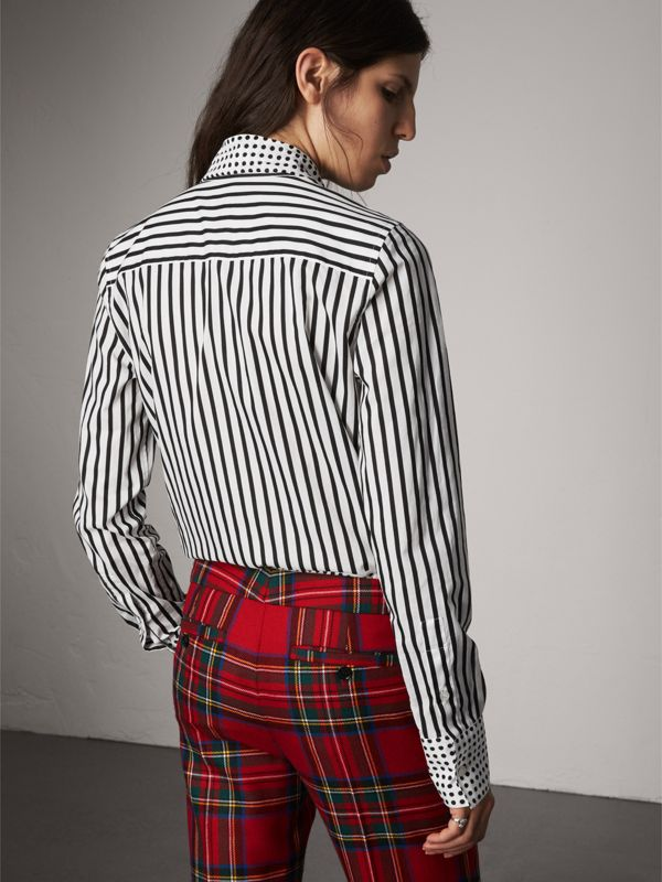 Spot and Stripe Print Cotton Tie-neck Shirt in Black - Women | Burberry United Kingdom - cell image 2