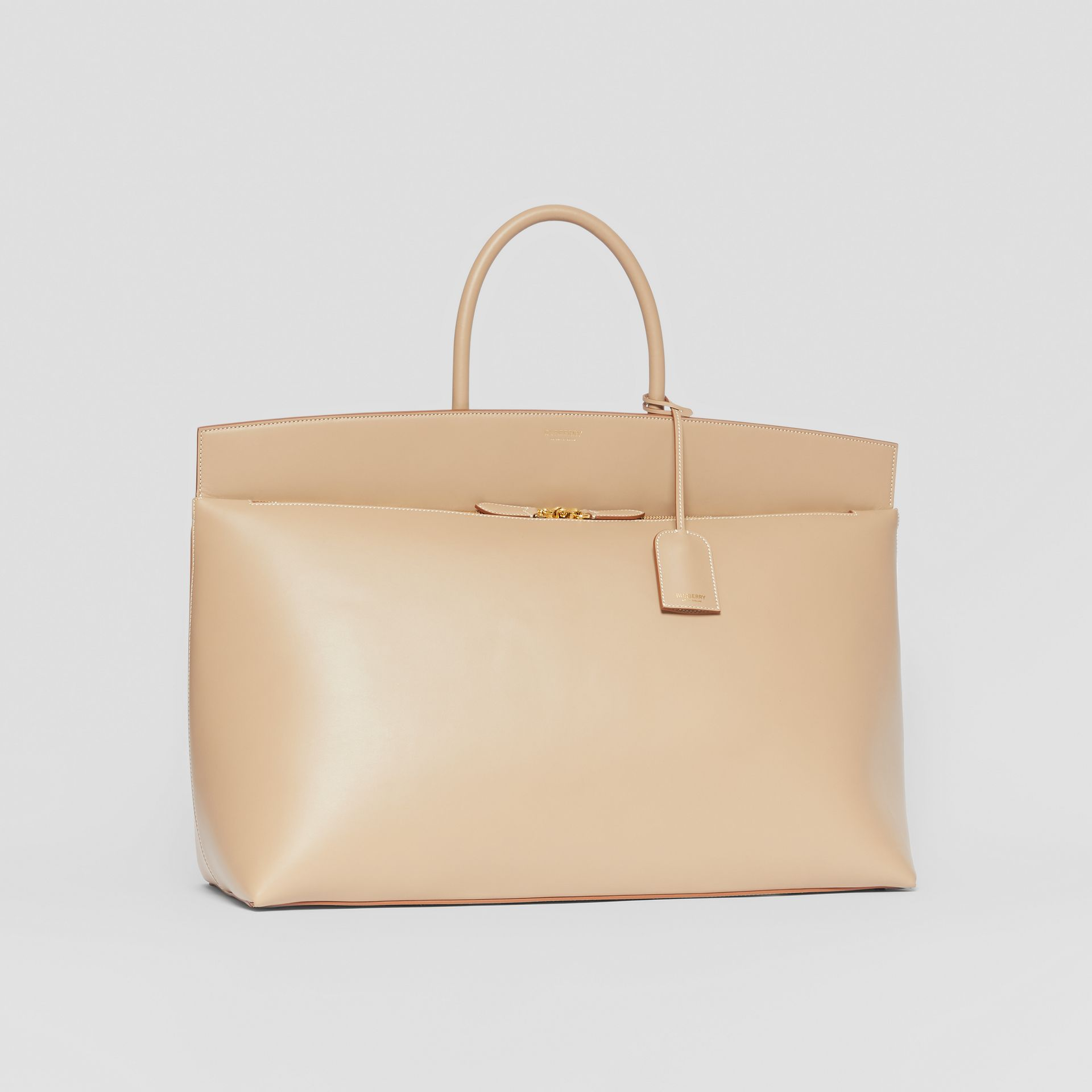 Extra Large Leather Society Top Handle Bag in Honey - Men | Burberry - gallery image 4