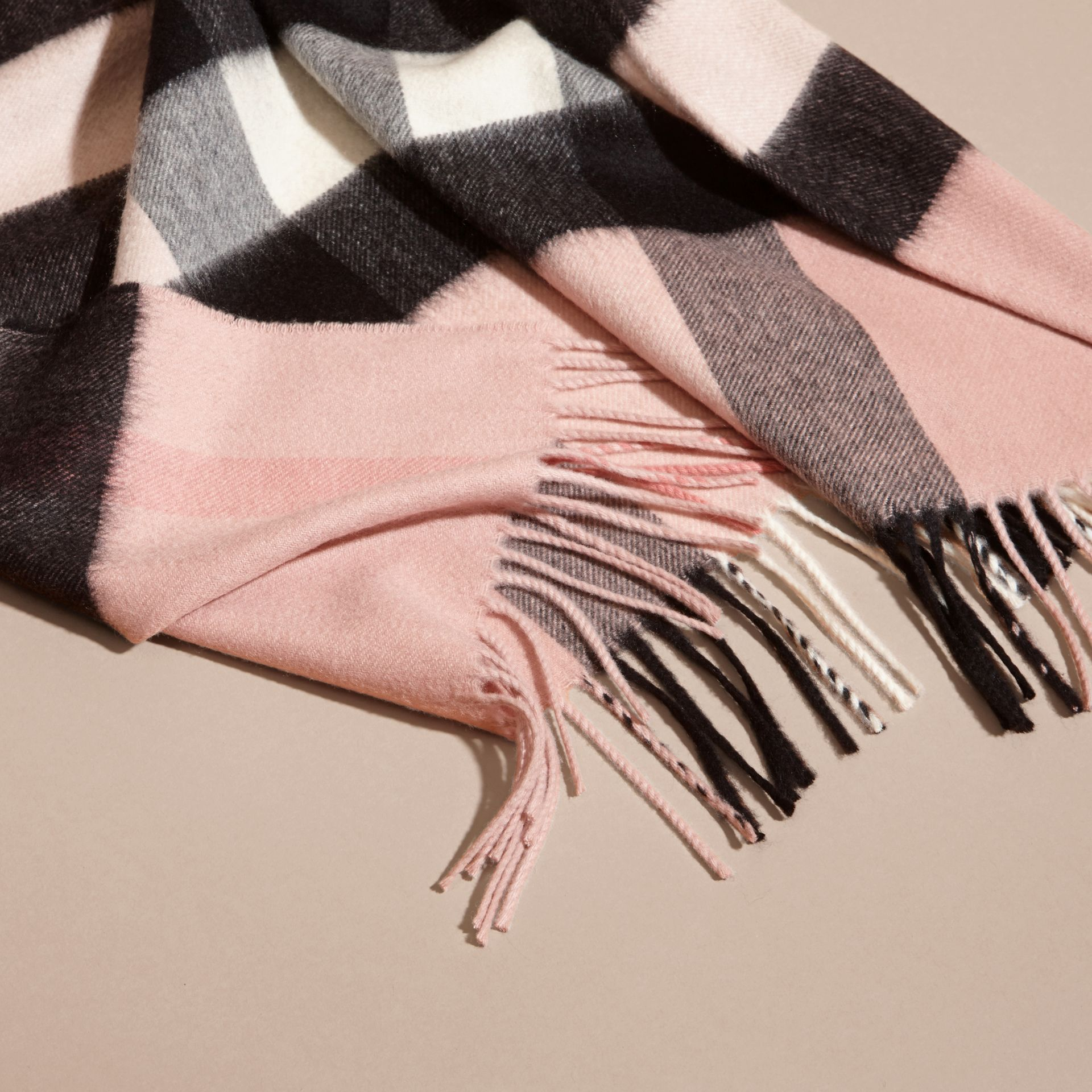 Check Cashmere and Wool Poncho in Ash Rose - Women | Burberry - gallery image 6