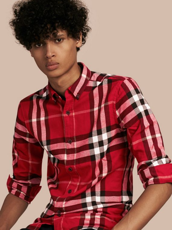 Check Cotton Flannel Shirt Parade Red