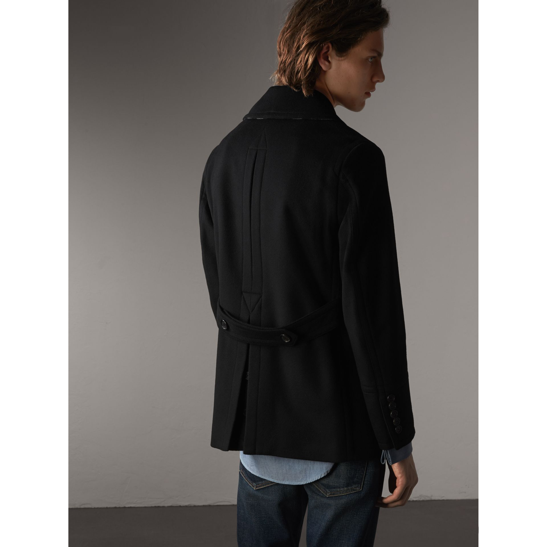 Wool Cashmere Pea Coat in Black - gallery image 3