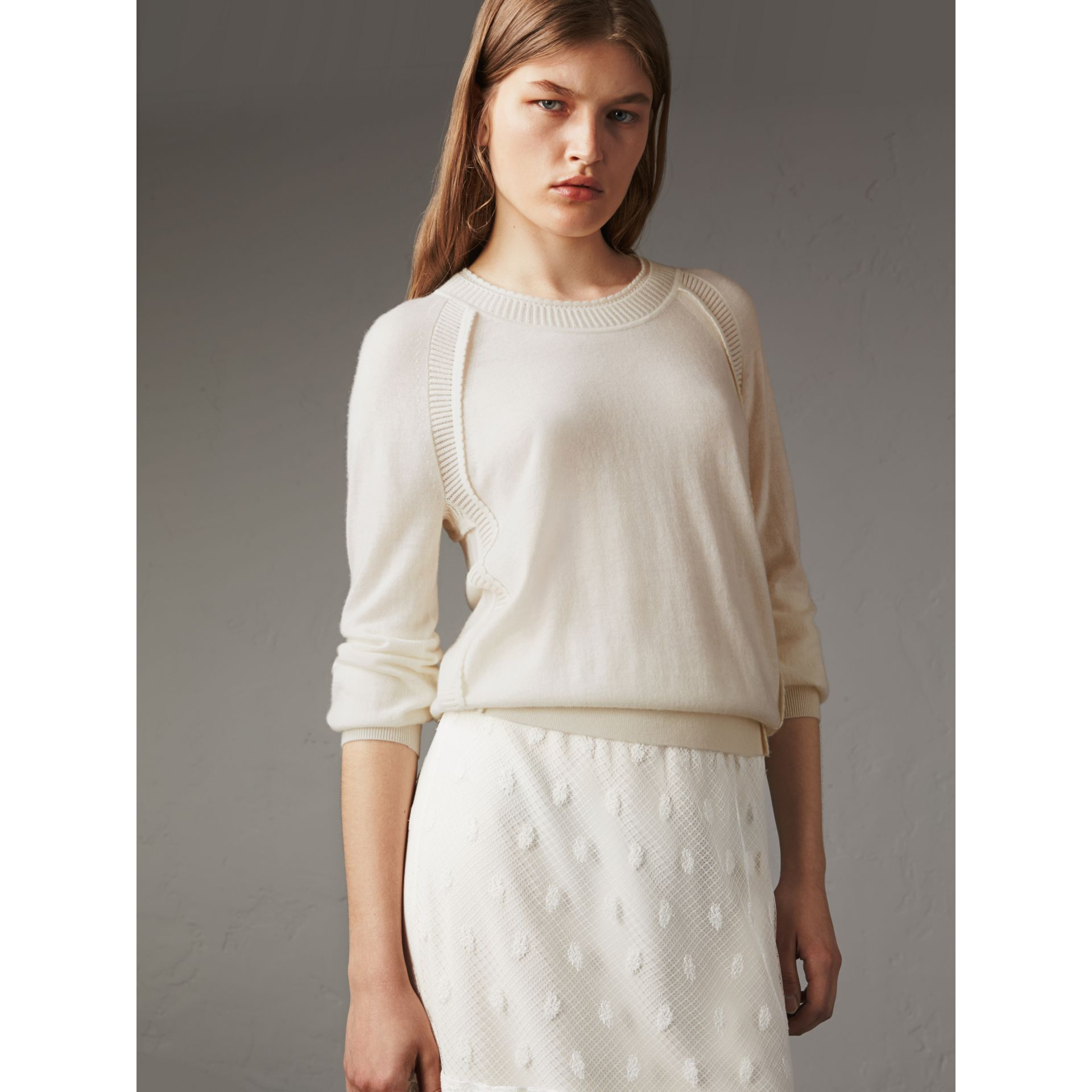 Open-knit Detail Cashmere Crew Neck Sweater in Natural White - Women | Burberry - gallery image 6