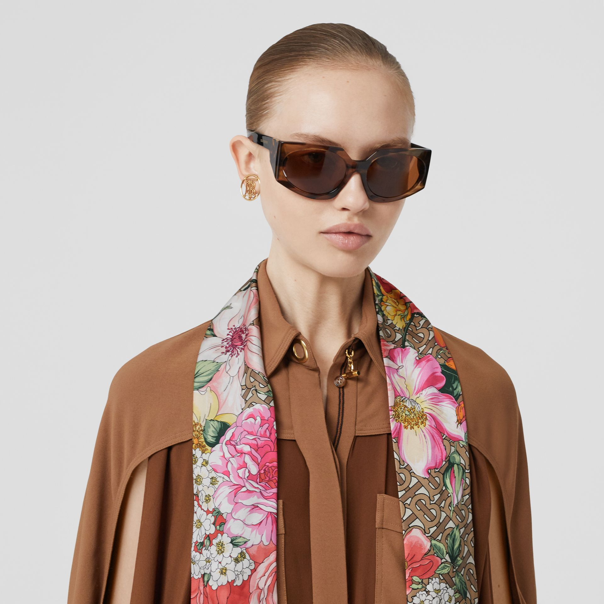 Floral and Monogram Print Silk Skinny Scarf in Archive Beige | Burberry - gallery image 6