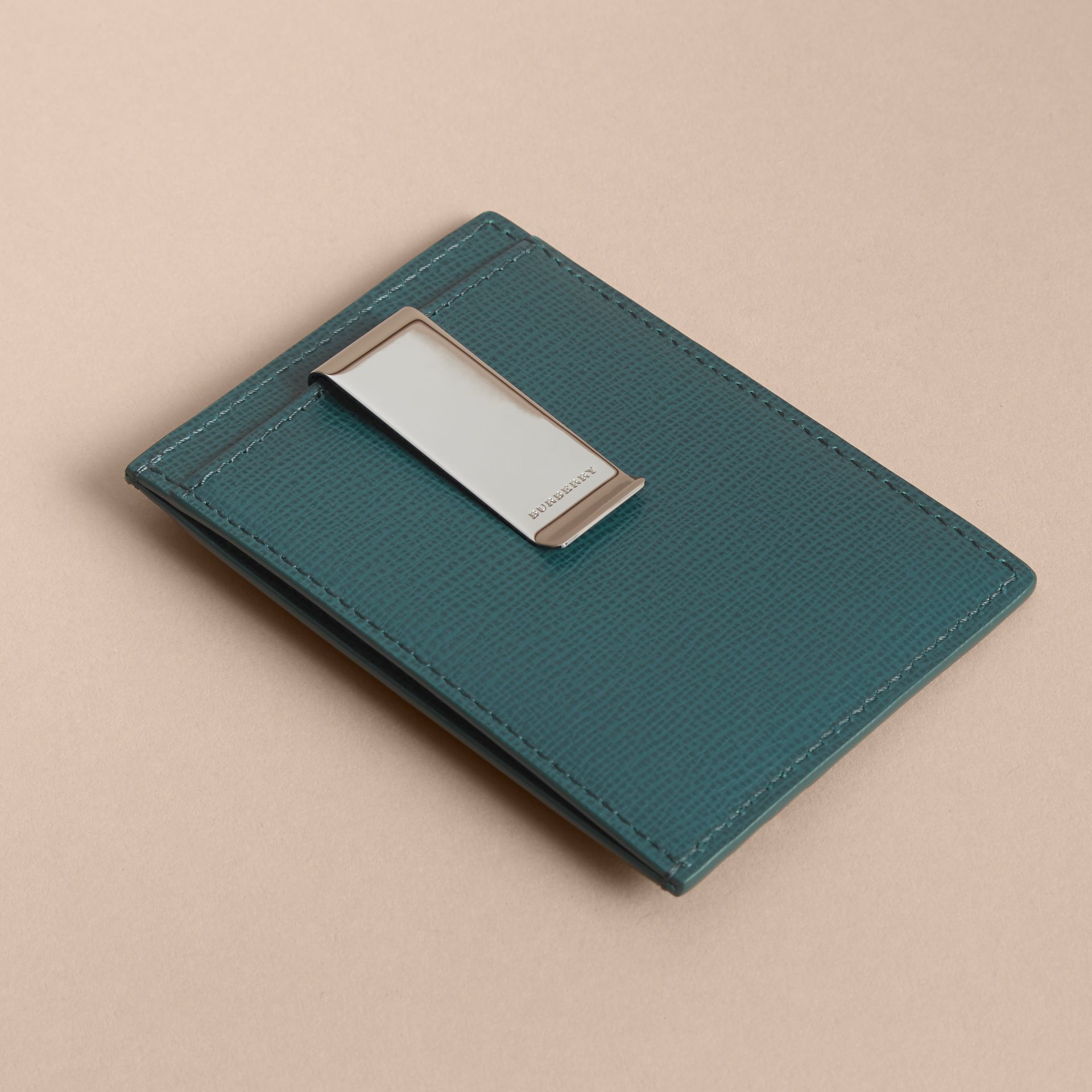 London Leather Money Clip Card Case in Dark Teal - Men | Burberry Canada - gallery image 3