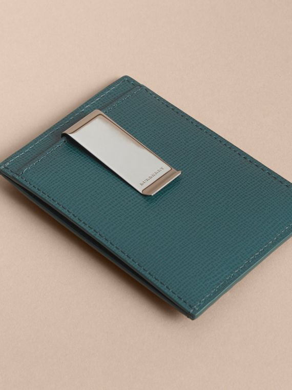 London Leather Money Clip Card Case in Dark Teal - Men | Burberry - cell image 2
